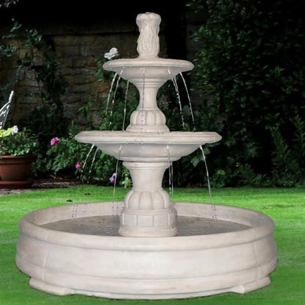 Small Contemporary Tier Outdoor Fountain in Grando Pool