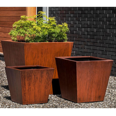 Steel Tapered Planter  by Outdoor Art Pros