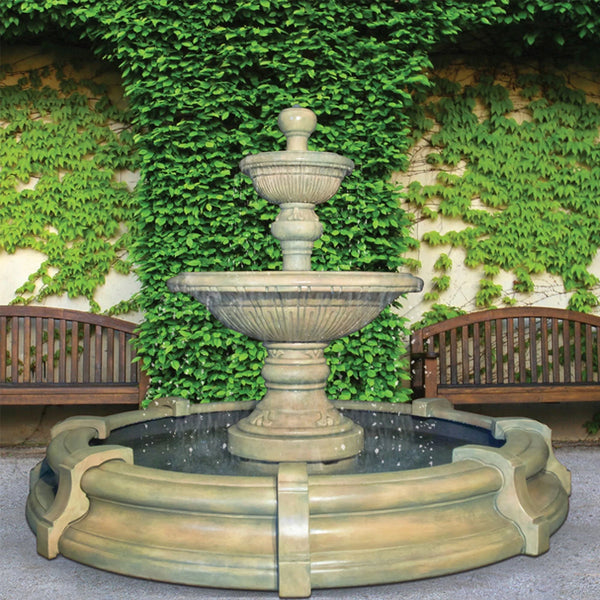 Traviata Two-Tier Outdoor Fountain in Toscana Pool