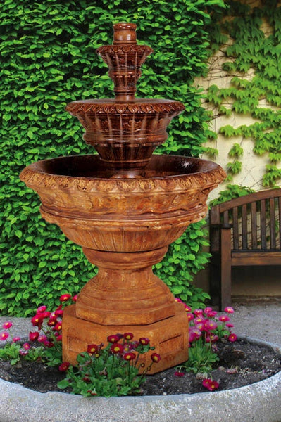 Valencia Three-Tier Cast Stone Outdoor Fountain
