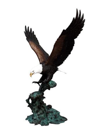 Eagle on Crested Waters Outdoor Bronze Statue Outdoor Art Pros