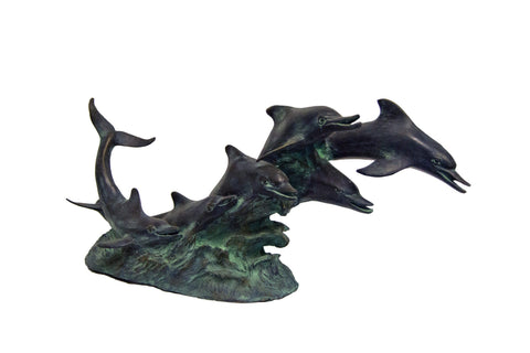 Dolphins Riding Waves Garden Statue - Brass Baron - Outdoor Art Pros