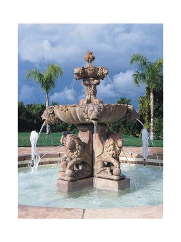 Lion  2 Tier Outdoor Fountain with Lion Pedestal and Plumped Bowl - Large - Outdoor Art Pros