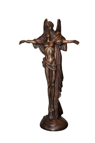 Brass Baron Jesus Attended by Angel Statue - Brass Baron - Outdoor Art Pros