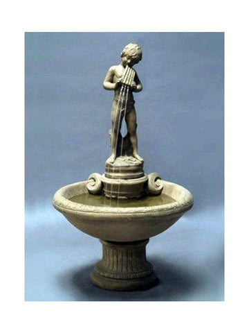 Piping Boy Cast Stone Garden Fountain - Outdoor Art Pros