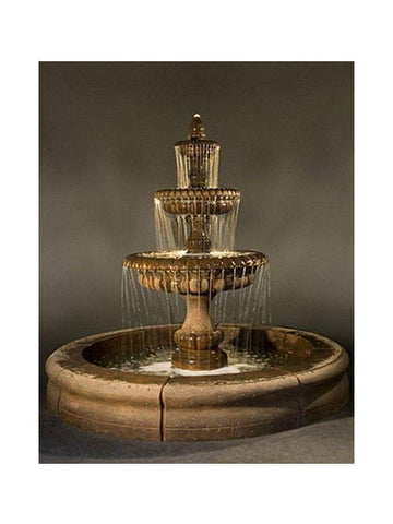 Pioggia Large Outdoor Fountain with Fiore Pond - Outdoor Art Pros
