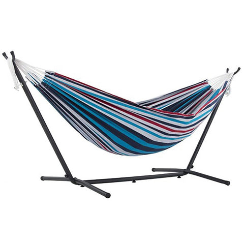 Denim Double Deluxe Hammock with 9' Stand - Outdoor Art Pros