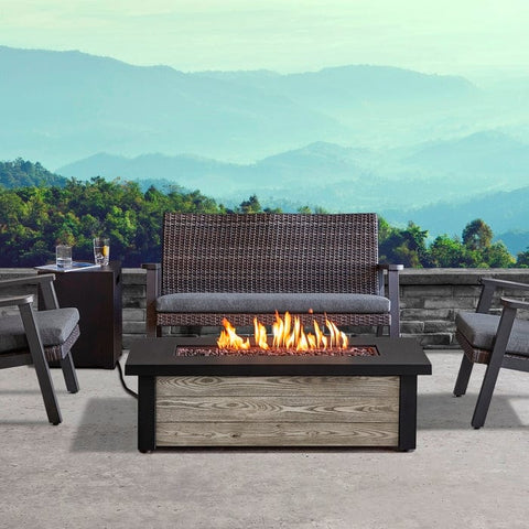 Fairplay Propane Fire Table in Gray Wood with NG Conversion - Outdoor Art Pros