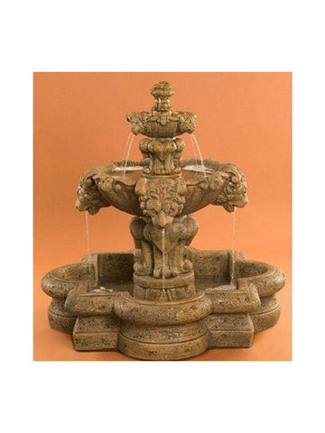 Courtyard Lion Garden Fountain in Quatrefoil Basin - Small - Outdoor Art Pros