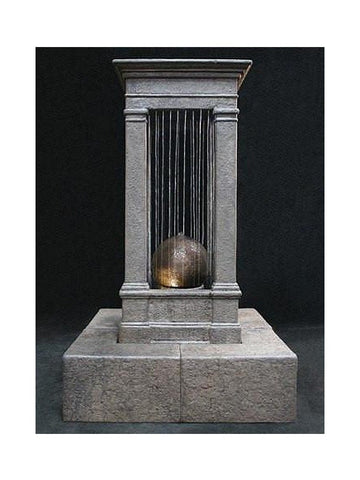 Old World Curtain Rain Outdoor Water Fountain - Tall with Sphere - Outdoor Art Pros
