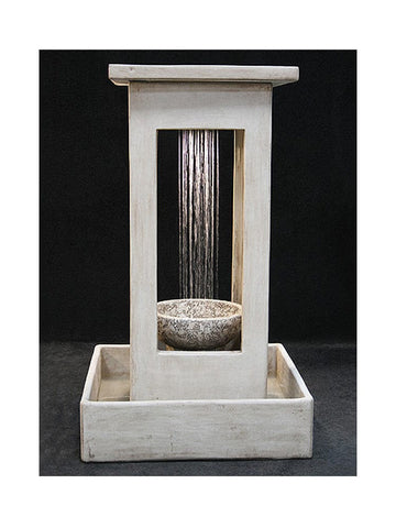 Smooth Center Rain Outdoor Fountain With Bowl and Square Basin - Outdoor Art Pros
