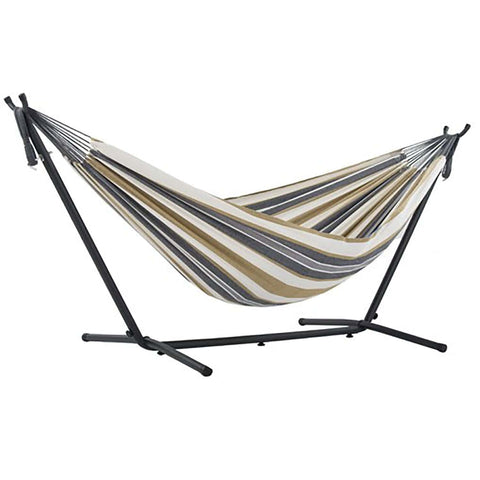 Desert Moon Double Deluxe Hammock with 9' Stand - Outdoor Art Pros