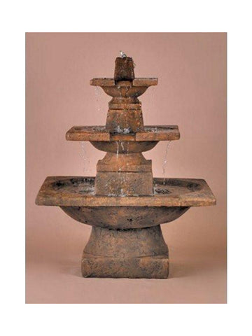 3 - Tier Quadrate Outdoor Water Fountain - Outdoor Art Pros