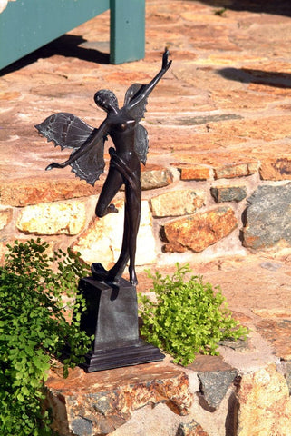 Brass Baron Butterfly Fairy Statue - Brass Baron - Outdoor Art Pros