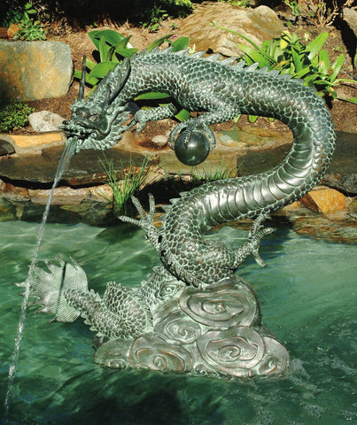Large Water Dragon Garden Fountain - Brass Baron - Outdoor Art Pros