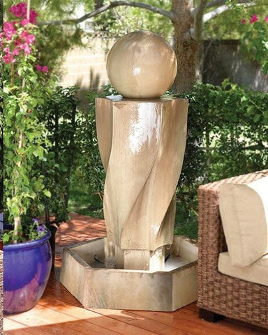 Genial Vortex With Ball Outdoor Water Fountain   Outdoor Art Pros