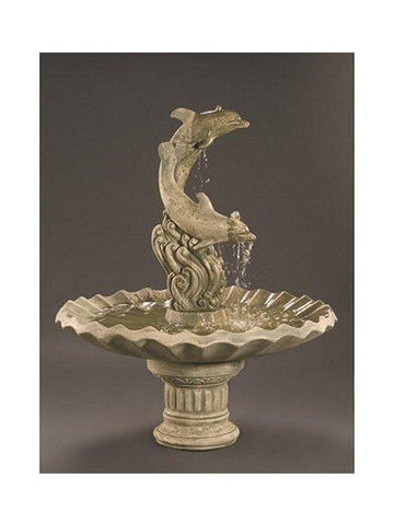 Dolphins With Shell Bowl Cast Stone Garden Fountain - Outdoor Art Pros
