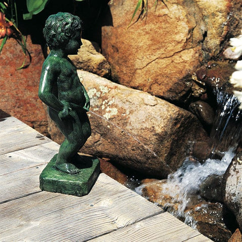 Belgian Boy Fountain - Brass Baron - Outdoor Art Pros