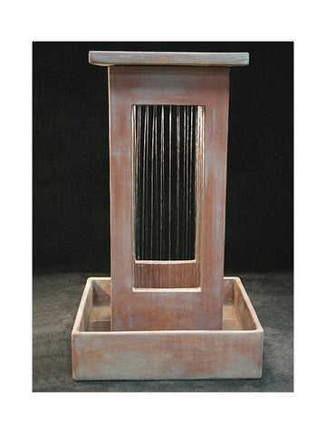 Smooth Curtain Rain Outdoor Fountain With Square Basin - Outdoor Art Pros