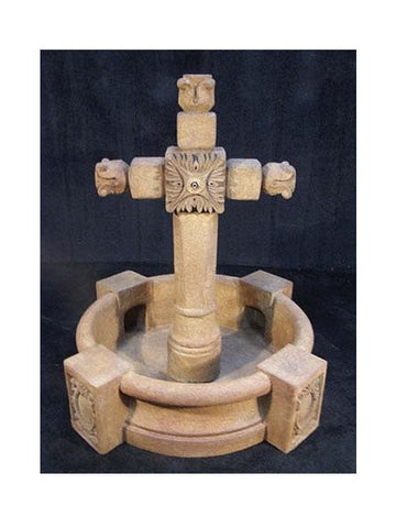 Ancient Cross Garden Water Fountain With Pool - Outdoor Art Pros