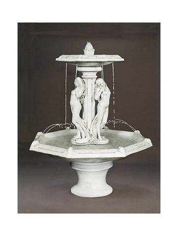 Three Graces Tiered Outdoor Fountain With Octagon Bowl - Outdoor Art Pros
