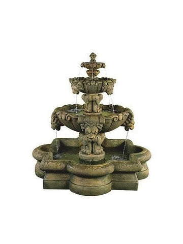 Courtyard Lion Outdoor Water Fountain in Quatrefoil Basin - Outdoor Art Pros