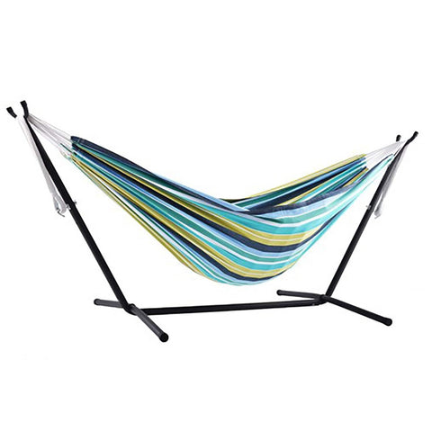 Cayo Reef Double Deluxe Hammock with 9' Stand - Outdoor Art Pros