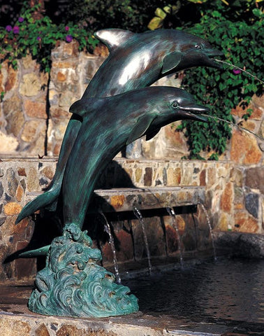 Brass Baron Small Double Dolphins Garden Accent and Pool Statuary  - Brass Baron - Outdoor Art Pros
