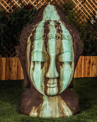 Extra Large Buddha Head Garden Sculpture - Outdoor Art Pros
