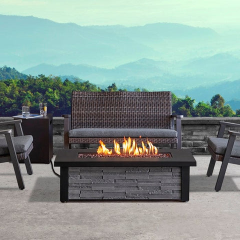 Berthoud Propane Fire Table in Stacked Stone with NG Conversion - Outdoor Art Pros
