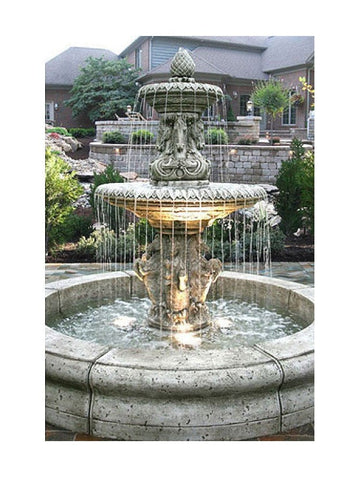 Cavalli Outdoor Fountain with Fiore Pond - Outdoor Art Pros