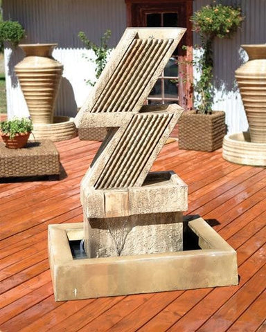 Zig Zag Garden Water Fountain - Outdoor Art Pros