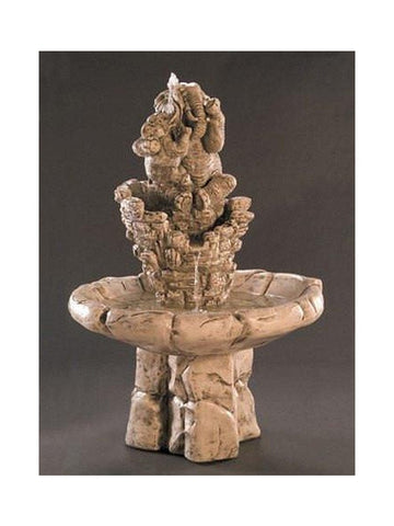 Elephant Family Cast Stone Garden Fountain - Outdoor Art Pros