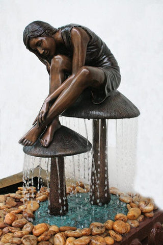 Girl on Mushroom Garden Fountain - Brass Baron - Outdoor Art Pros