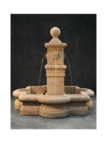 Bella Outdoor Water Fountain in Quatrefoil Basin - Outdoor Art Pros