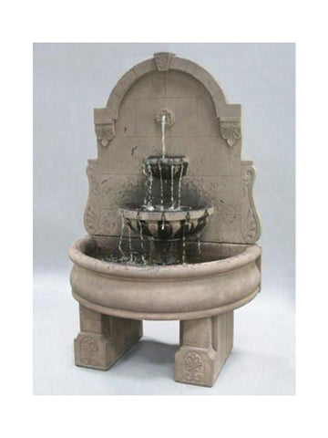 Bavarian Wall Outdoor Water Fountain with Basin and Pedestals - Outdoor Art Pros