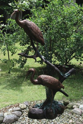 Grand Heron Pair Bronze Garden Sculpture - Brass Baron - Outdoor Art Pros