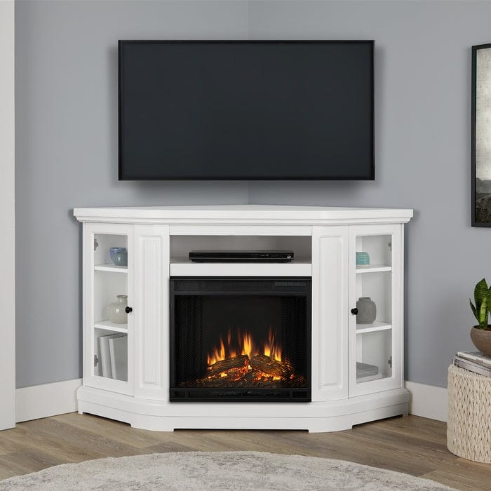 Windom Corner Electric Fireplace In White