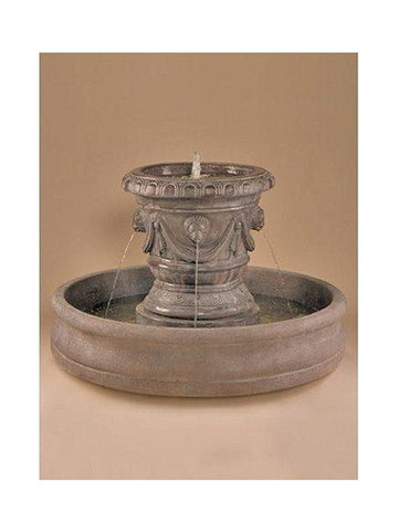 Classico Pot with Lion Heads Outdoor Water Fountain - Outdoor Art Pros