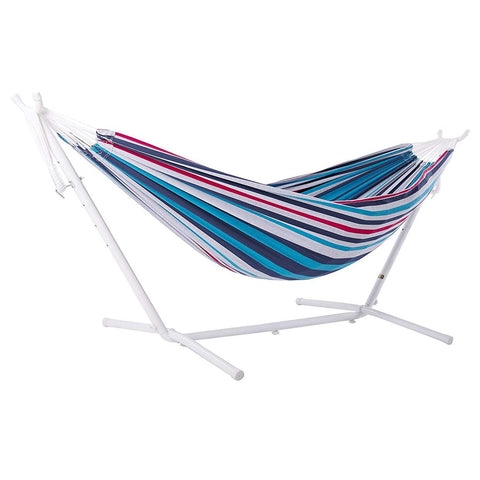 Denim Double Deluxe Hammock with White 9' Stand - Outdoor Art Pros