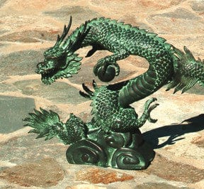 Brass Baron Small Water Dragon Garden Accent and Pool Statuary  - Brass Baron - Outdoor Art Pros