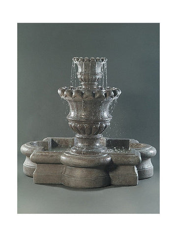 Scallop Urn Outdoor Fountain with Quatrefoil Basin - Outdoor Art Pros