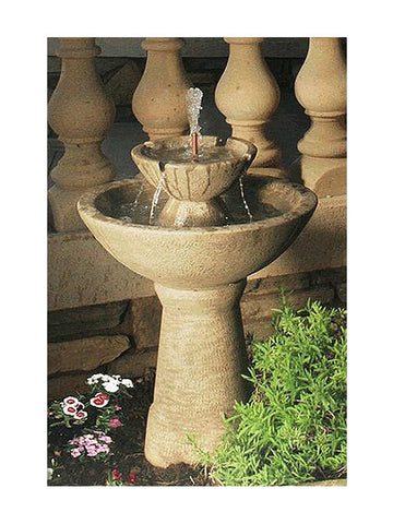 2-Tier Color Bowl With Lips Garden Water Fountain- Tall - Outdoor Art Pros