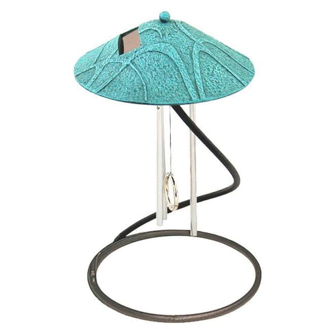 Verdigris Spiral Solar Chime Décor - Outdoor Art Pros