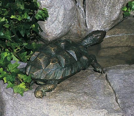 Medium Turtle Garden Fountain  - Brass Baron - Outdoor Art Pros