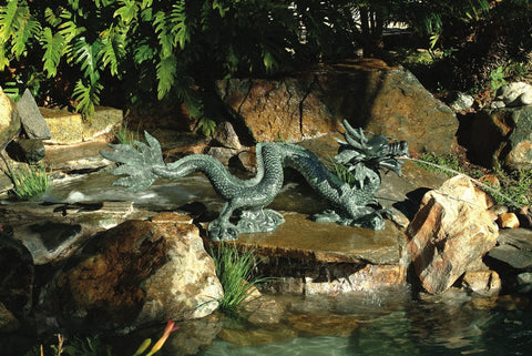 Brass Baron Creeping Dragon Water Statue - Brass Baron - Outdoor Art Pros