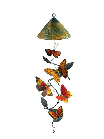 Cone Top Butterfly Solar Mobile Décor - Outdoor Art Pros