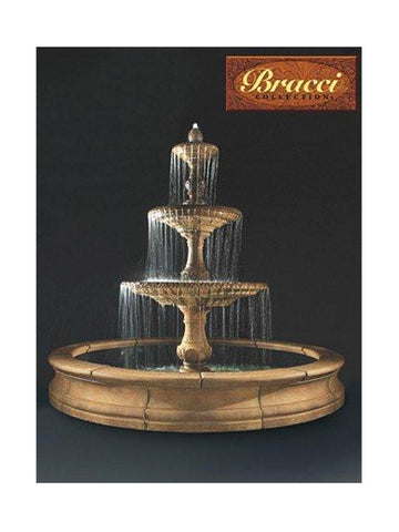 3-Tier Four Seasons Outdoor Water Fountain With Bracci Basin - Outdoor Art Pros
