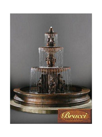 3 Tier Cavalli Outdoor Water Fountain With 12 Foot Bracci Basin - Outdoor Art Pros