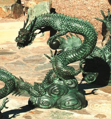 Medium Water Dragon Garden Fountain  - Brass Baron - Outdoor Art Pros